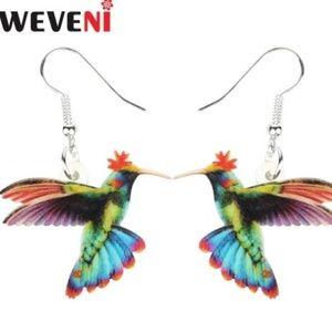 WEVENI Acrylic Flying Green Hummingbird Earrings.